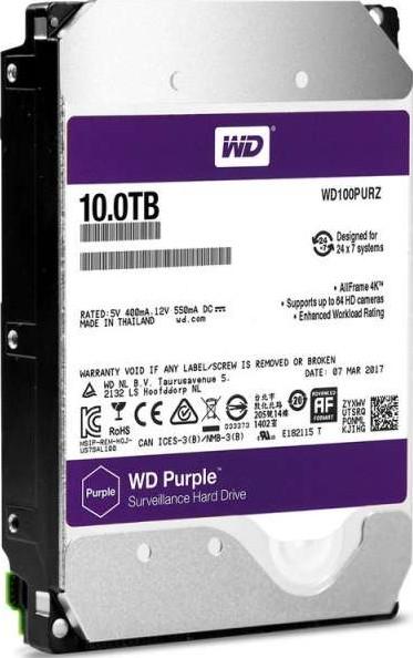 WD 10TB Purple Surveillance Internal Hard Disk Drive (5400 RPM Class
