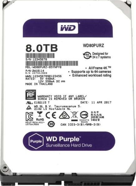 WD 8TB Purple Surveillance Internal Hard Disk Drive (5400 RPM Class